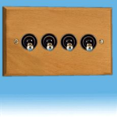 Varilight Kilnwood 4 Gang 1 or 2 Way 10A Dolly Toggle Switch Scandic Beech, Black Insert XKT9BE
